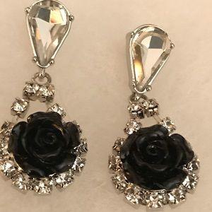 Betsey Johnson Jewelry - Betsy Johnson Black Rose Bling Earrings